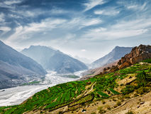 Spiti valley and river in Himalayas Stock Image