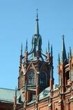 Spits Spiers, torentjes en toppen de Kathedraal van de Onbevlekte Ontvangenis van de Heilige Maagdelijke Mary Blue-hemel Stock Foto's