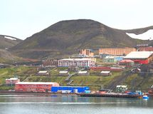 Spitsbergen: Barentsburg - a mining settlement. Barentsburg is the second largest settlement on Spitsbergen (Svalbard), with about 500 inhabitants (2007), almost royalty free stock images