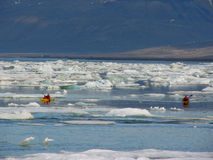 Spitsbergen landscape with canoe Stock Photography