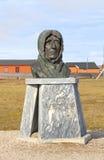 Spitsbergen: Roald Amundsen skulptur Arkivfoton