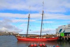 Spitsbergen/Ny-�lesund: Summer Tourist Ships Stock Image