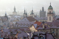 Spitsen en Daken, Oude Stad, Praag Stock Fotografie