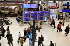 Spitsuur in de luchthaven van Frankfurt Royalty-vrije Stock Foto's