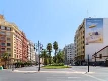 Spitsuur in het Centrum Van de binnenstad van Valencia City Stock Afbeeldingen