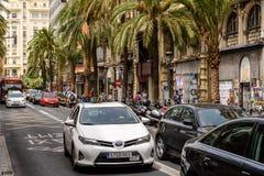 Spitsuur in het Centrum Van de binnenstad van Valencia City Royalty-vrije Stock Foto's