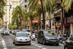 Spitsuur in het Centrum Van de binnenstad van Valencia City Stock Afbeelding