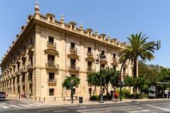 Spitsuur in het Centrum Van de binnenstad van Valencia City Stock Foto's