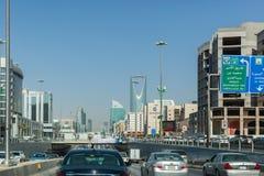 Spitsuur op Koning Fahd Road in Riyadh Stock Foto's