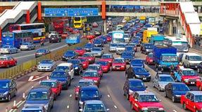 Spitsuurverkeer in Hongkong stock foto