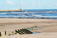 Spittal beach and pier with lighthouse Royalty Free Stock Images