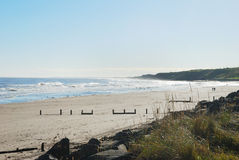 Spittal beach and surf in autumn sun. Seascape of Spittal beach with sea surf,waves,sand, and coastline Stock Image