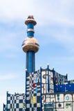Spittelau plant by Hundertwasser in Vienna Stock Photos