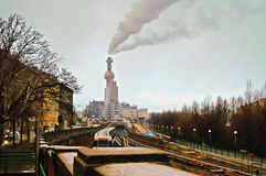Spittelau waste incineration and district heating plant by Hundertwasse in the evening Stock Image
