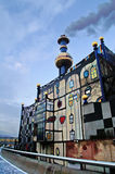 Spittelau waste incineration and district heating plant by Hundertwasse in the evening Royalty Free Stock Photo