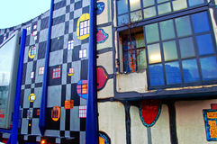Spittelau waste incineration and district heating plant by Hundertwasse in the evening Royalty Free Stock Photos