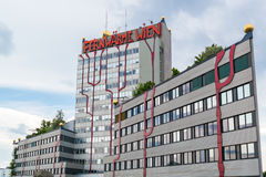 Spittelauinstallatie door Hundertwasser in Wenen Stock Fotografie