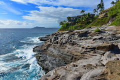 Spitting Cave of Portlock. In Oahu, Hawaii Royalty Free Stock Image