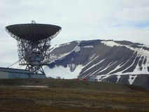 View of the Deep Space radio-telescope and satellite-tracking station at Longyearbyen on Spitzbergen, Norway royalty free stock photos