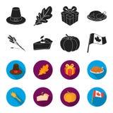 Spitze des Weizens, ein Stück der Torte mit Moosbeeren, Kürbis, Staatsflagge Kanada-Danksagungstagesgesetzte Sammlungsikonen here Stockbilder