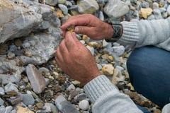 Spitze hinunter die Ansicht der Mannhand Mineralien erforschend Geologische Besetzung in der Natur stockfoto