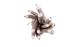 Spitze sehen unten auf farbigen Bleistiften mit Barkenende an Stockfotos