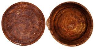 Spitze und Unterseite einer alten Blechdose Stockfotos