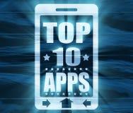 Spitze zehn apps Text auf Telefonschirm Lizenzfreie Stockbilder