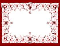 SpitzeDoily auf Rot (jpg+eps) Stockfoto