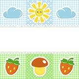 Spitzegrenze mit Pilz und Erdbeere Lizenzfreies Stockbild