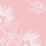Spitzehintergrund mit Raum für Text Schablonenhochzeitseinladungs- oder -grußkarte mit einem openwork Muster Stockfoto