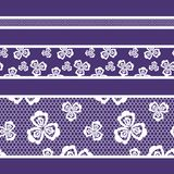 Spitzen- Band-, weiße und Purpurrotefarbe des nahtlosen Musters Lizenzfreie Stockfotos