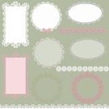 Spitzen- Einklebebuchservietten- und -rahmendesign Stockbild