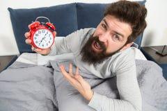 Spitzen für früh aufwachen Schläfriges aufwachendes Gesicht des bärtigen Hippies des Mannes Tagesprogramm für gesunden Lebensstil lizenzfreie stockbilder