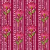Spitzen- nahtloses mit Blumenmuster mit Blumen auf Rosa Lizenzfreies Stockbild