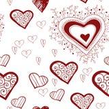 Spitzen- rote Herzen der Weinlese auf einem weißen Hintergrund. Stockfotos