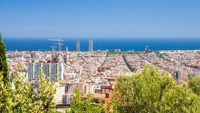Spitzenluftpanoramablick von Barcelona-Stadtbild, Katalonien, Badekurort lizenzfreie stockbilder