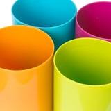 Spitzenrundes Plastikgefäß vier Stockfoto