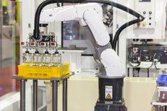 Spitzentechnologie des Industrieroboterarmes der Präzision und der Genauigkeit während des arbeitenden Glasflaschenaufzugs vom Pl lizenzfreies stockbild