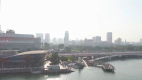 Spitzentouristenattraktionen in Singapur um Marina Bay schuß Draufsicht des Flusses in Singapur lizenzfreies stockfoto