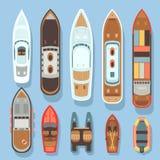 Spitzenvogelperspektiveboot und Ozeanschiffsvektorsatz Lizenzfreies Stockbild