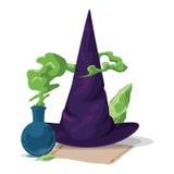 Spitzer Hexen-Hut mit magischem Alchimie-Trank und Stein, Vektor-Illustration Lizenzfreies Stockfoto