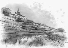 Spitzhaus Radebeul sketch. Of the vineyard Royalty Free Stock Images