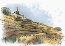 Spitzhaus Radebeul sketch. Of the vineyard Royalty Free Stock Photo