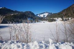 spitzing与冻结的表面,上部巴法力亚冬天landsca的湖 库存图片