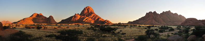 Spitzkoppe panorama. Panorama from three photos of the Spitzkoppe in Namibia stock images