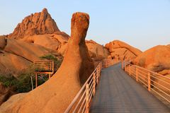 Spitzkoppe with red Rock - Namibia Afrika stock photo