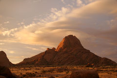 Spitzkoppe at sunset. Beautiful Namibian landscape with view on Spitzkoppe rocks. Namibia royalty free stock photos