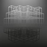 Spjälad ram som göras av tärning i utsikter Bakgrunden av skärmobjekten Arkivfoto