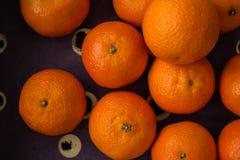 Spjällåda av Clementine Oranges, slut, från över Royaltyfri Fotografi